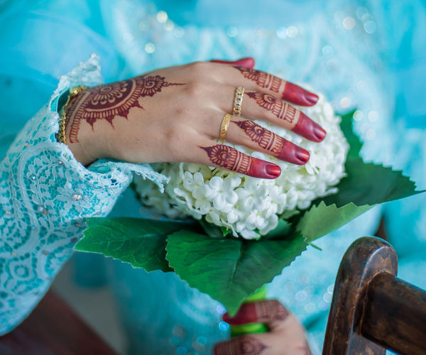 Close-up of woman hand holding bouquet