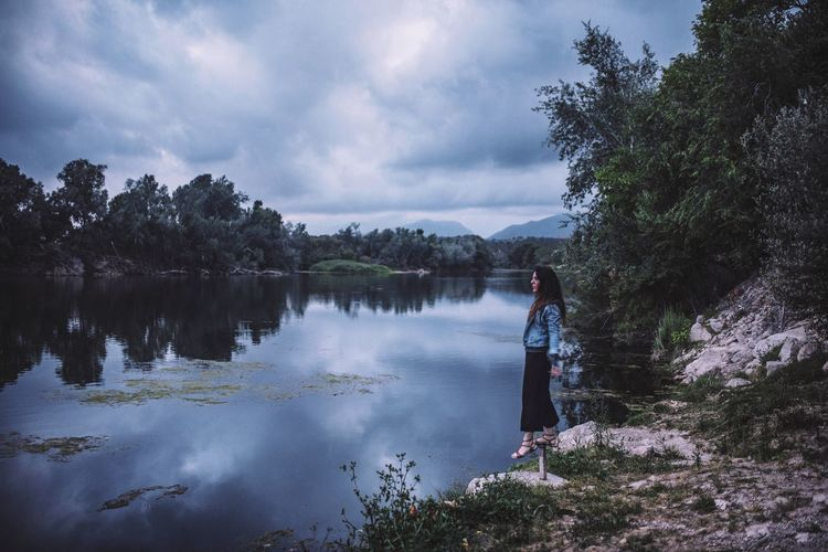 Woman Movement Blue Sky Blue Hour Portrait Forest Lake View Lake Outdoor Photography Outdoors Self Portrait Nature_collection darkness and light Darkness Forest Photography Landscape Green Village Nature Photography