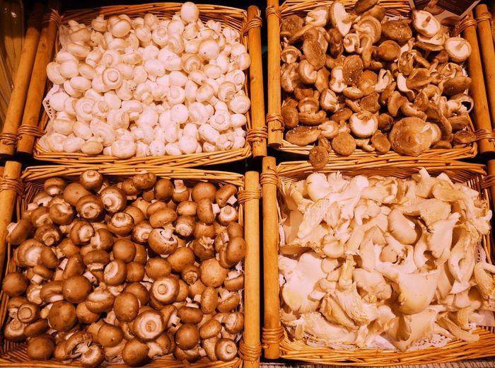 Mushrooms Food Mushrooms Portobello Mushroom Champignons Austernpilze Pilz Pilze Basket Food Market