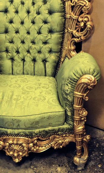 Lieblingsteil Antique No People Indoors  Day Chair Armchair Pompous Green Gold Wing Chair Baroque Baroque Style Home Furniture Textile