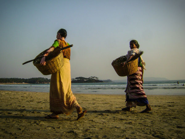 Beach Life Clear Sky Evening Light Evening Sun Exotic Goa Mother India Women At Work Women Around The World