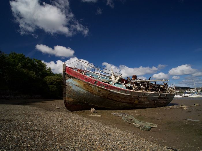 """Wreck of the """"Grey Lady"""" Beached & Abandoned 2 ( Colour) OlympusPEN Beached Abandoned Conwy Landscape Boats"""