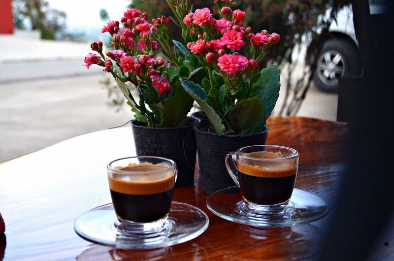 Coffee Cup With Black Coffee By Flower Pots
