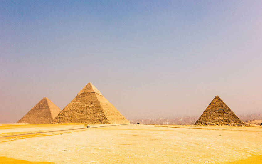 Ancient Ancient Civilization Ancient History Architecture Arid Climate Built Structure City Cultures Desert Egypt Egyptology Giza Gizapyramids History No People Outdoors Pharaoh Pyramid Pyramid Shape Sand Sky The Past Travel Travel Destinations Triangle Shape