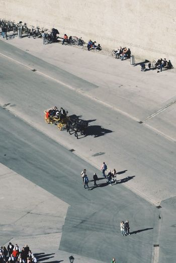 High angle view of people on motorcycle