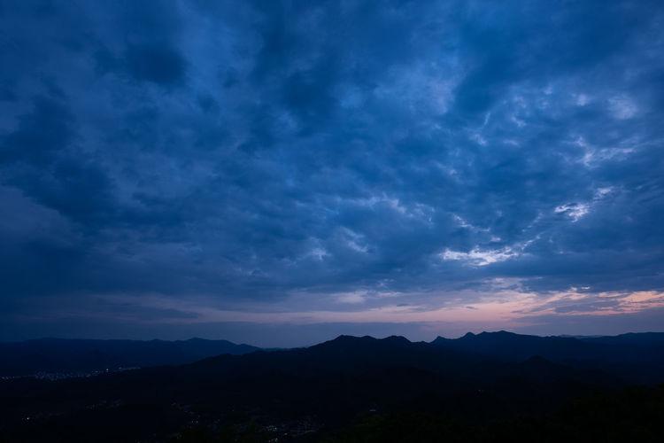 Hokkaido Japan Beauty In Nature Blue Cloud - Sky Environment Idyllic Landscape Mountain Mountain Range Nature Night No People Non-urban Scene Outdoors Remote Sapporo Scenics - Nature Silhouette Sky Sunset Tranquil Scene Tranquility