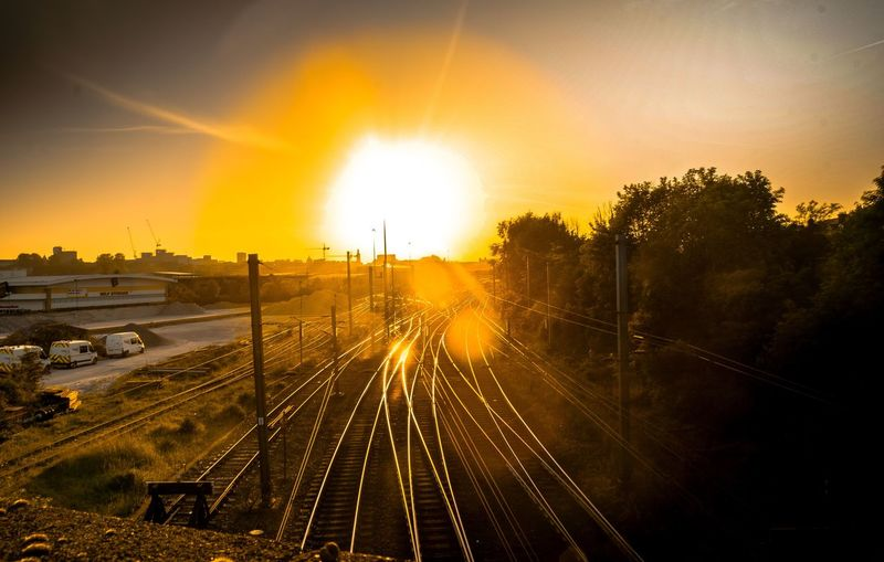 Train Train Station Sunset Tracks Train Tracks Sunset Golden Hour Golden Sunset