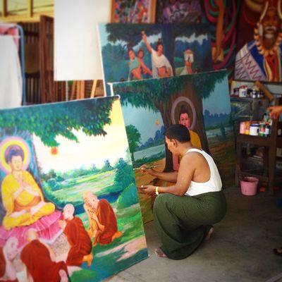 One of Myanmar's 10 art and craft ပန္းခ်ီ Painting Art Artist Mandalay Myanmar Burma Igers Igersmyanmar Igersmandalay Igersburma Vscocam Vscomyanmar