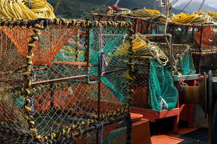 Lobster traps on fishing boat