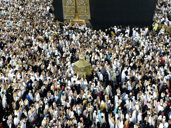 High Angle View Of Crowd At Mecca