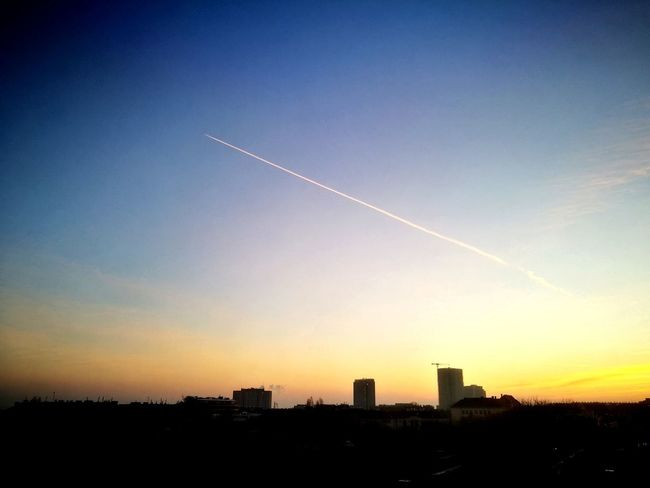 Sky Sunset Skyscraper Vapor Trail Modern City No People Airplane Urban Skyline Outdoors Clear Sky Cityscape Day Favoriten Austria Vienna Nature Cityscape City Dramatic Sky Landscape
