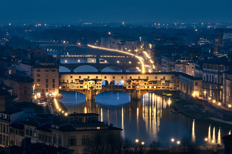 Ponte Vecchio Firenze Reflection Travel Architecture Blue Bridge Building Exterior Built Structure City Cityscape Florence Illuminated Italy Night No People Outdoors Sky Town Water