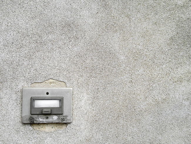 Close-up detail shot of grey concrete wall and electric old door bell Close-up Concrete Wall Connection Copy Space Day Door Bell Electricity  Indoors  No People Technology Wall - Building Feature Wallpaper