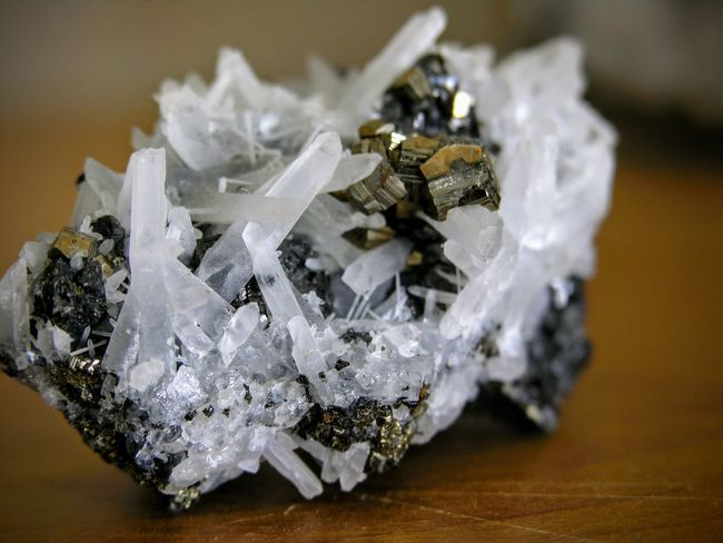 This piece of quartz with pyrite is one of my favourites in my collection 💎 PersonalCollections Crystal Geology Geologyporn Indoors  Luxury Mineral No People Pyrite Pyrite On Quartz Rocks And Minerals EyeEmNewHere