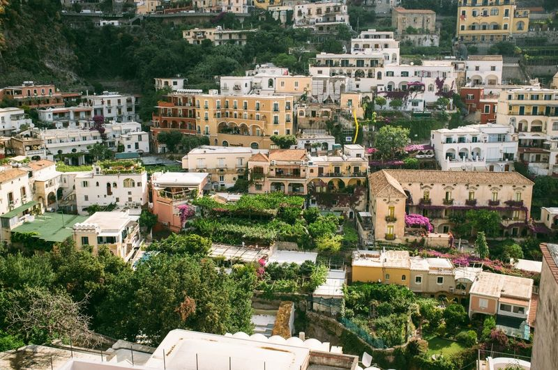 High Angle View Of Buildings At Positano