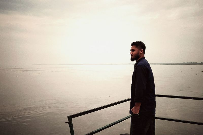One Man Only Only Men Standing Beard Water Horizon Over Water Adult Young Adult EyeEm Selects EyeEm Gallery Eyeem Market EyeEm Masterclass EyeEm Ready   EyeEm Best Shots Black And White Photography Youth Photographer Lifestyles Mobilephotography Youth Of Today Oppocamera Assam, India Brahmaputra River Namami Brahmaputra EyeEm Ready   EyeEm Ready   EyeEmNewHere