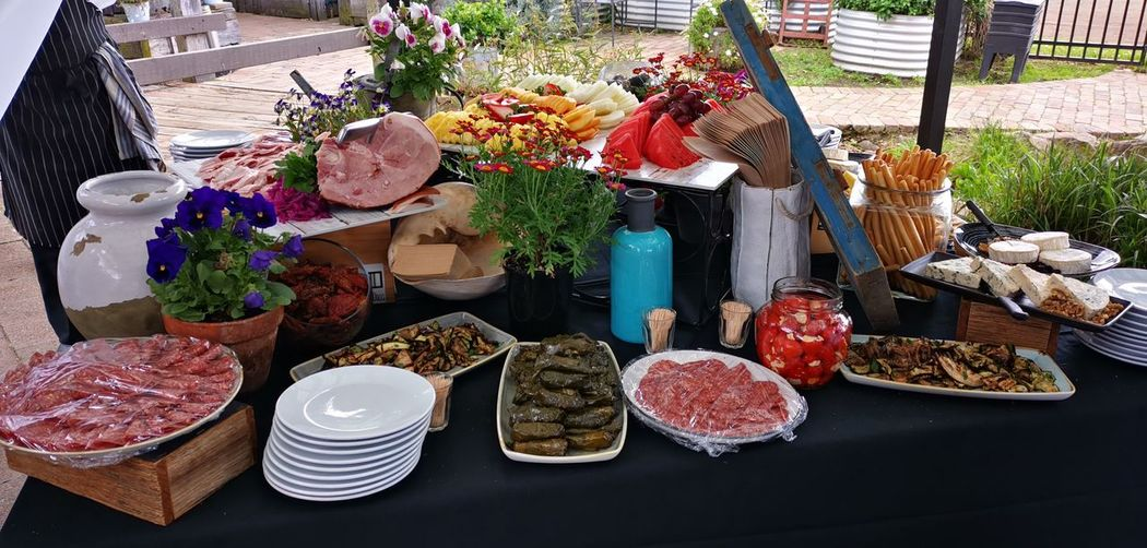 High angle view of antipasto on table