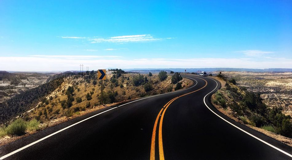 Atop USA Utah Road Sky Transportation The Way Forward Direction Day Landscape Diminishing Perspective