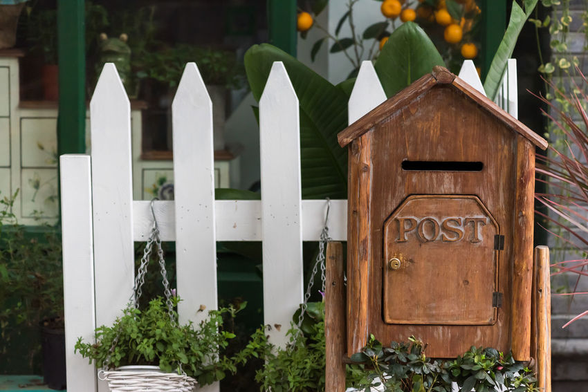 post Plant No People Day Wood - Material Fence Barrier Boundary Communication Architecture Built Structure White Color Focus On Foreground Building Exterior Nature Text Outdoors Picket Fence Green Color Leaf Plant Part