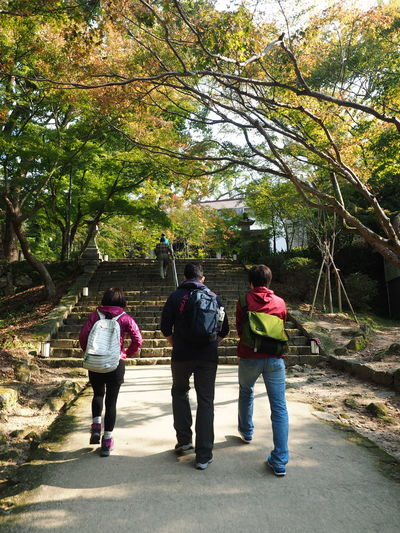 Friendship. (captured in Fukuoka, Japan.) Backpack Friend Friendship Growth Homanza Homanzan Japan Journey Men Mountain Nature Outdoors People Rear View Togetherness Travel Tree Treking Walking Let's Go. Together.