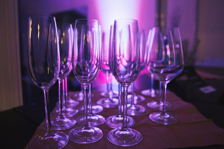 Champagne Champagne Glasses Sektglas Alcohol Close-up Drinking Glass Freshness Illuminated Indoors  Night No People Purple Purple Tones Sekt Sektgläser Table Wine Wineglass