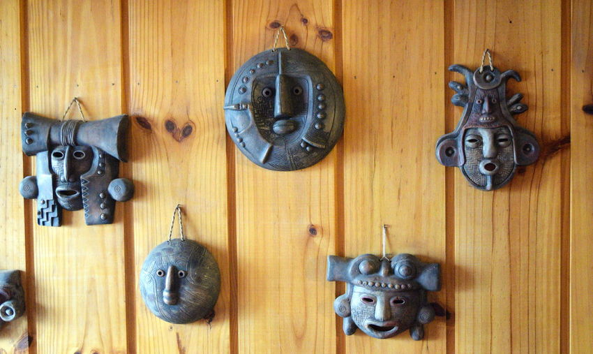 Andes Backgrounds Close-up Day Decoration Doorknob Full Frame Indoors  Masks Arts And Crafts Metal No People Old-fashioned Restaurant Variation Wall Wall Hanging Wood Wood - Material