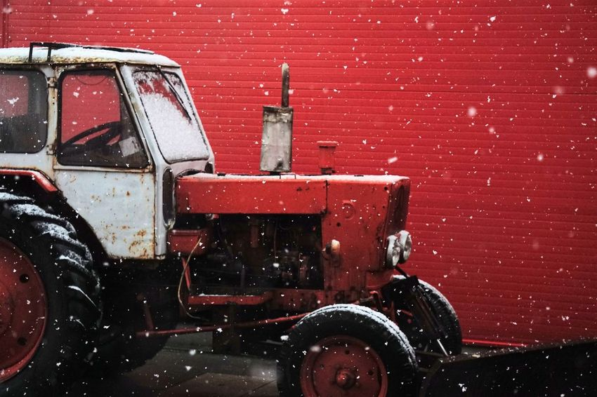 Tractor Winter Brick Wall Close-up Day No People Old Soviet Tractor Outdoors Red Red Tractor