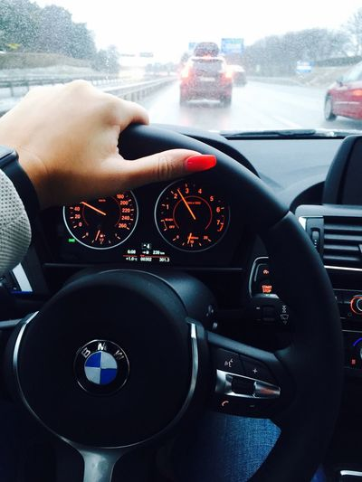 Just back to the reality. Jetlag Tired This Morning On My Way To Work Car Hand Bmw Steering Wheel Rain Nail