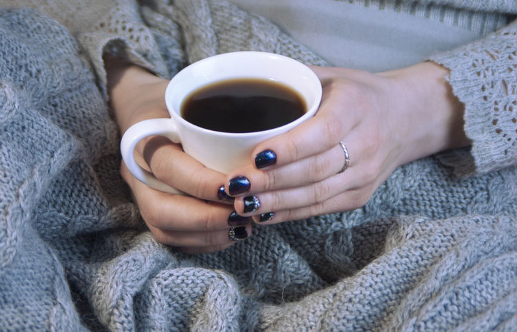 Coffee, Free Time. Hot Drink, Winter Adult Comfort. Red, Yellow, Hot Drink, Warm Drink Evening, Handsome Human Hand Indoors  One Person Real People Refreshment Warm Wool