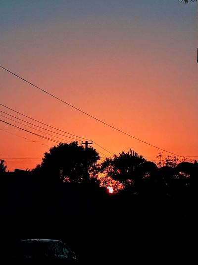 Sunset #Nature  #naturelove #photography #streetphotography EyeEm Selects Foodphotography #FollowMe #landscape #nature #photography #EyeEmNewHere #potrait #beautiful Sunset Silhouette No People Nature Outdoors Sky Beauty In Nature Clear Sky Tree Telephone Line Bird Day