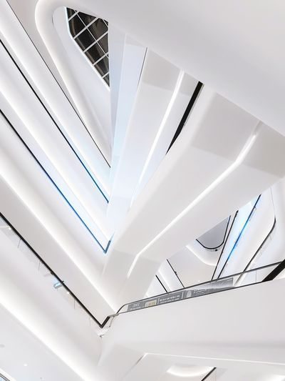 Low angle view of spiral staircase in modern building