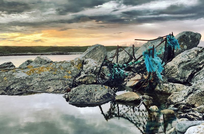 Old battered fishing creel. Fishing Creel Creel Fishing Rocks HDR Sunset Nature Rock - Object Reflection No People Sea Water Beauty In Nature Worn Outerhebrides Hebrides Scotland