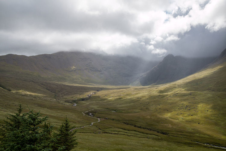 Cloudy Sky Fairy Pools Light Moody Sky Nature Scotland Highlands Island Light And Shadow Moody Sunbeam