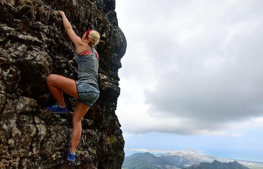 Adventure Rock Climbing Cliff Adrenaline Junkie Dangerous Rocks Sky Clouds Overlooking Outlook Lifestyle Headband Athletic Print Blonde