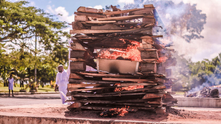 Death Trinidad And Tobago Cremation Cremation Ceremony Funeral Funeral Pyres Outdoors Pyre Religion Religious  Sky Smoke - Physical Structure Stack Street Street Photography Streetphotography