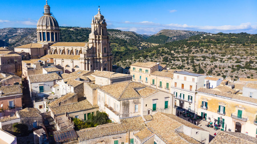 Building Exterior Architecture Built Structure Building City Residential District Mountain Religion Place Of Worship Travel Destinations History High Angle View Town The Past Travel Sunlight Outdoors TOWNSCAPE Ragusa Ragusa Ibla, Sicily Ragusa Ibla Ragusa - Scorcio Italiano