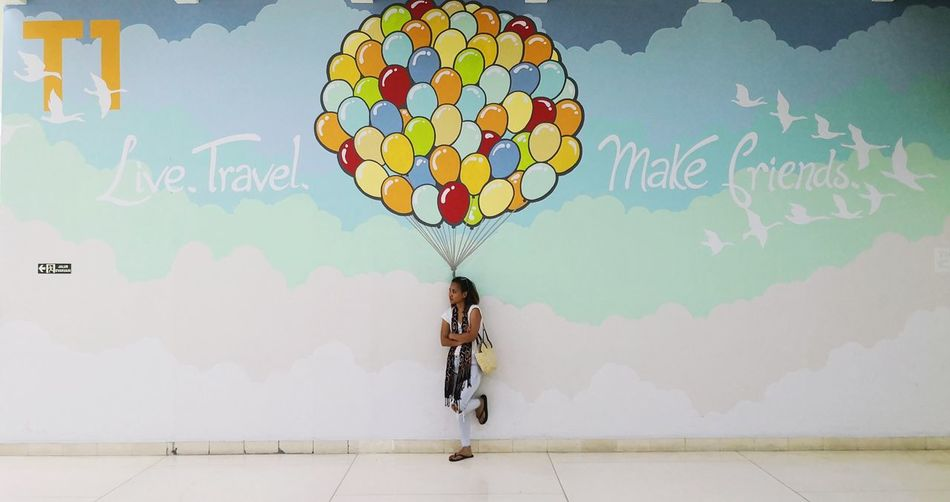 Live. Travel. Make friends Airport Travel Ilovetravel Wanderlust Travelphoto Trip Traveltheworld Full Length Young Women Internet Multi Colored Confidence  Sky Ballooning Festival World At Your Fingertips
