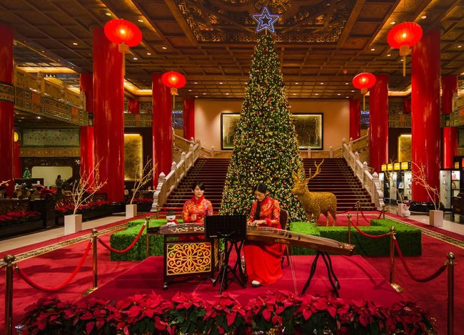 Indoors  Celebration Christmas Tree Christmas Lights Christmas Around The World Taiwan Grand Hotel Taipei Red Color Religious