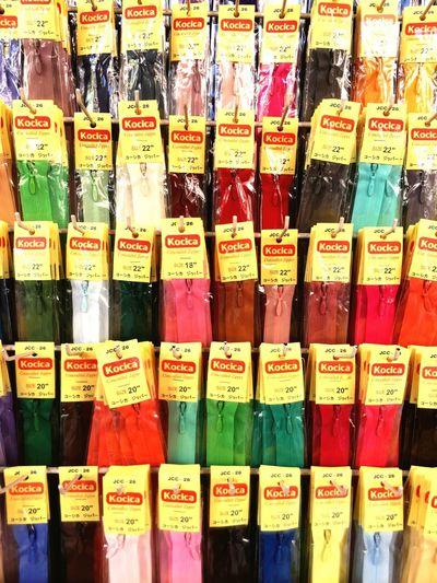 Colorful zips.