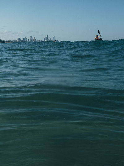 Gold Coast Waterfront Water Sea Sky Nautical Vessel Real People One Person Mode Of Transportation Horizon Over Water Outdoors Scenics - Nature Lifestyles Clear Sky Transportation Beauty In Nature Leisure Activity Australia Kayak Nature