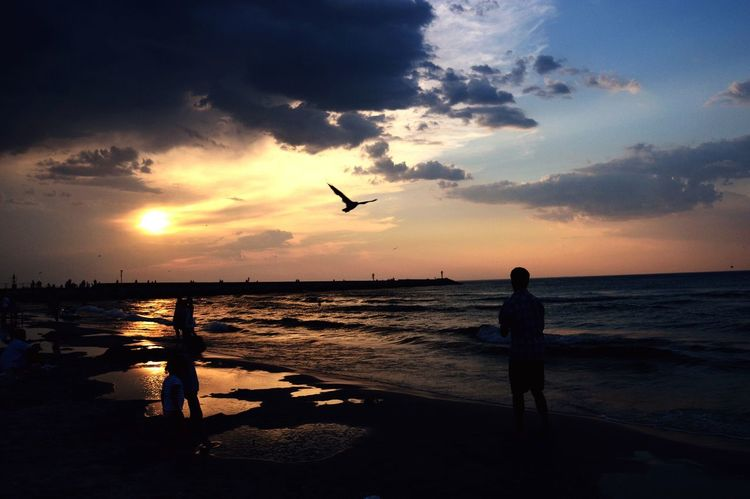 Morze Zachodslonca Niebo Ludzie Summer ☀ Relaxer . Time