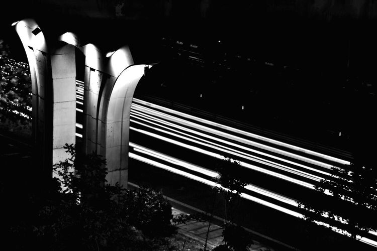 Lines And Angles Night Architecture No People Built Structure Indoors  Outdoors Nightphotography Night Lights Blackandwhite Black Blackandwhite Photography Lights Long Exposure Lines Light Lines Streetphotography Street Photography Cars Car Lights Cars Lights Traffic