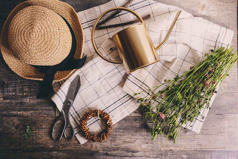 rustic gardener set on white backround. Vintage scissors, hat and dried flowers Hat Clothing Plant No People Table Still Life Indoors  Nature Straw Hat Wicker Garden Gardener Summer Watering Can Dried Plant Flat Lay Flowers Flowers,Plants & Garden