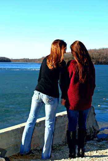 Beauty In Nature Blue Casual Clothing Day Kansas City Lake Leisure Activity Lifestyles Long Love Mother Daughter  Nature Outdoors Scenics Sky Sun Sweaters The Following Tranquil Scene Tranquility Water Winter Colors