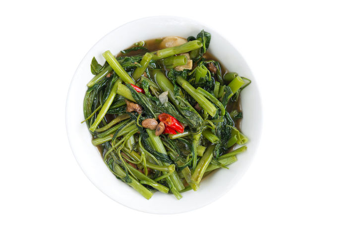 You are what you eat,try meatless meals ,healthy lifestyle concept. Bean Paste Garlic Bowl Close-up Day Food Food And Drink Freshness Green Color Healthy Eating Meatless Morning Glory No Meat Food No People Studio Shot Vegetable White Background