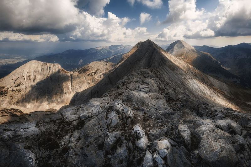Vihren and Kutelo peaks in Pirin mountain, Bulgaria Mountain Extreme Terrain Geology Idyllic Nature Landscape Formation Mountain Peak Bulgaria Pirineos National Park Hike Trekking Alps Summer Mountain Range Environment Outdoors No People Sky Vihren Kutelo Bansko Unesco