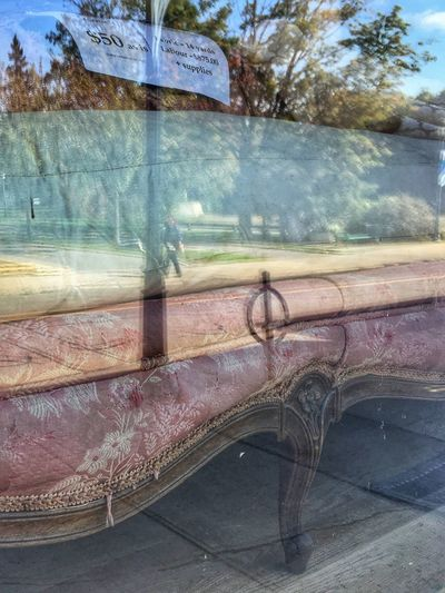 Window Reflection No People Day Vintage Pink Couch Almonte, Ontario