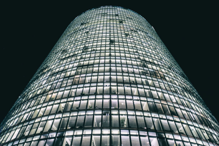 Bahn Tower at Potsdamer Platz at night in Berlin, Germany Architecture Bahn Tower Bahntower Berlin Building Exterior Built Structure City Color Image Futuristic Geometric Shape Germany🇩🇪 Horizontal Illuminated Low Angle View Modern Night No People Outdoors Pattern Photography Sky Skyscraper Tower