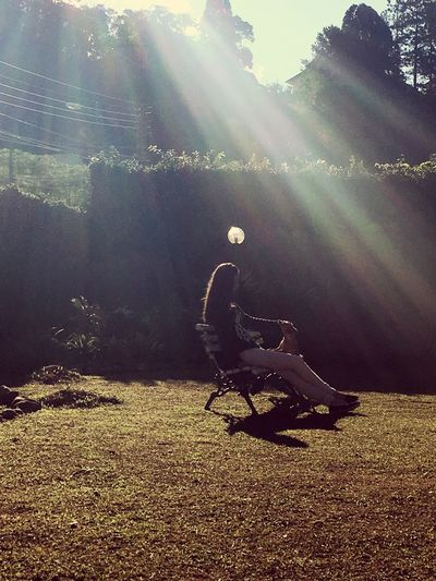 Meu Quintal Meu Lugar Dog Inlove♥ Sunbeam Sunlight Lens Flare Nature Day Tranquility Full Length Outdoors One Person Tranquil Scene Leisure Activity Landscape Tree Beauty In Nature Grass Sky People