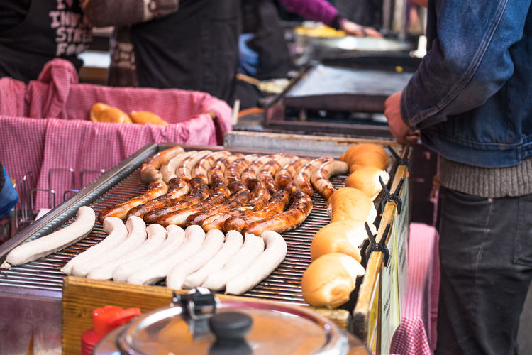 Close-up of barbecuing sausages